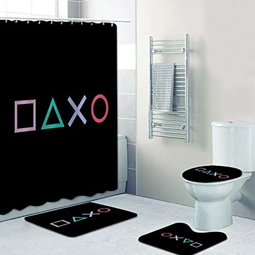 AETTP 3D Home Decor Geschenk Gamer Zone Warnung Playstation Gaming Duschvorhang Badezimmer Vorhang Set Videospiel Badematte Teppich Für Toilette 4Pcs Set 180 * 180cm