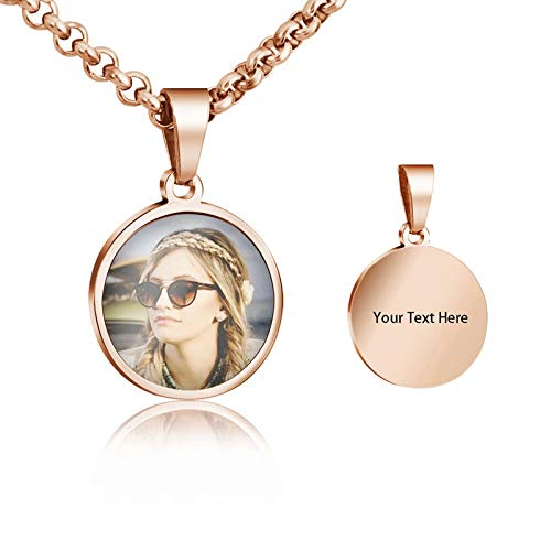 Personalized Custom Photo and Message Necklace Pendant Keychain Dog Tag for Men Women Personalised Stainless Steel Dainty Blank Heart Shape ID Tag Pendant Necklace