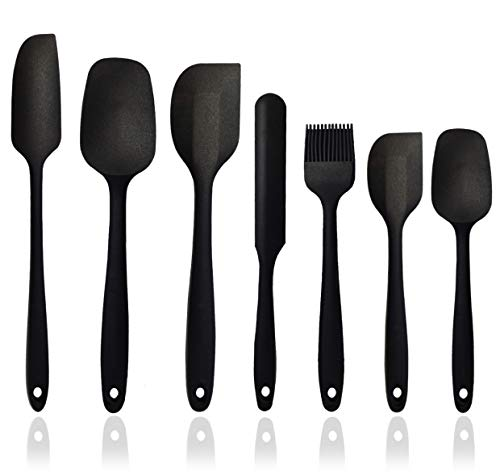 Silicone Spatula Set - 7-Piece Silicone Spatula Heat Resistant & Non-Stick, for Cooking, Baking and Mixing - With Stainless Steel Core (Black)