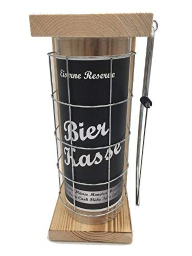 Bierkasse Eiserne Reserve Spardose incl. Säge zum zersägen des Gitter, Geldgeschenk, das andere Sparschwein, witzige Sparbüchse, Geschenkidee