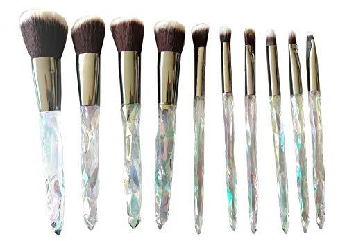 Set de pinceaux de maquillage professionnels, eye-liner, sourcils, 10 tailles différentes, fard à paupières, fard à paupières, fond de teint, transparent, violet et transparent