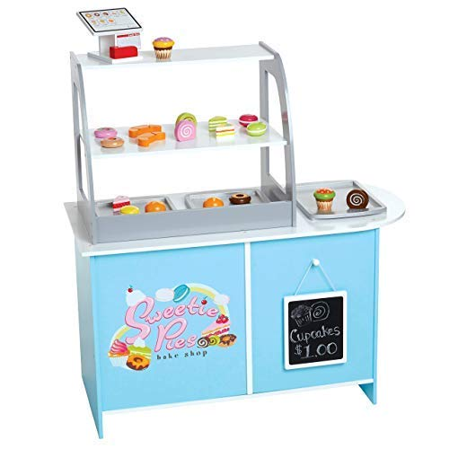 Wooden Bakery Playset Pretend Stand for Kids - 25 Piece Bake Shop Counter w Food  Chalkboard  Cash Register  Trays - Durable Construction for Creative Playtime