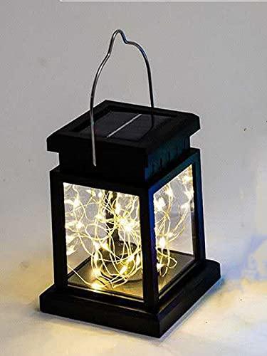 2 farolillos solares LED con cinturón para velas, IP44, resistente al agua, soporte para colgar, luz solar,...