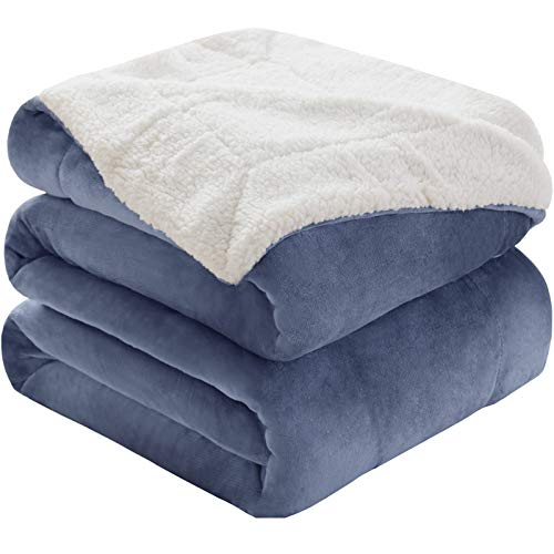 KAWAHOME Sherpa Fleece Blanket Super Soft Extra Warm Thick Winter Blanket for Couch Sofa Bed Queen Size 90 X 90 Inches Washed Blue