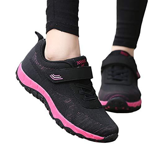 Oliviavan Women's Leisure Mesh Sport Shoes,Ladies Breathable Non-Slip Flat Light Sneaker Black
