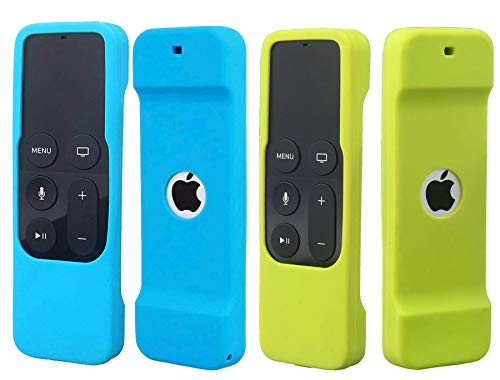 2Pack Remote Case Compatible with Apple TV 4K 4th 5th Generation, HJYuan Shock Proof Silicone Remote Cover Case Compatible with Apple TV 4th 5th Gen 4K Siri Remote Controller - Blue and Green