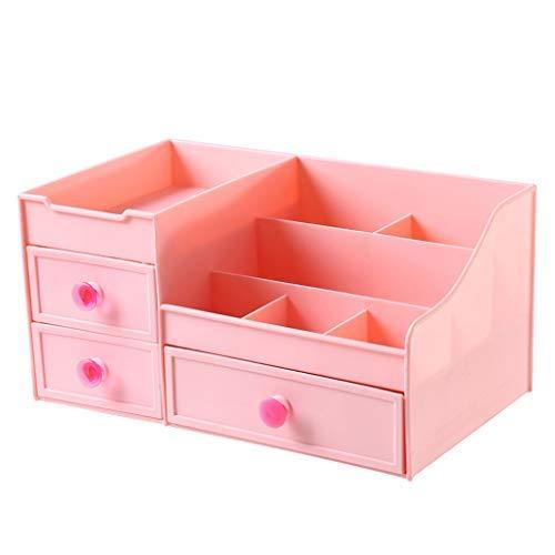 CCLLA Kosmetische Aufbewahrungsbox Desktop Kunststoff Schublade Typ Lippenstift Schmuck Hautpflegeprodukte Lagerung Vitrine (Farbe: Rosa)