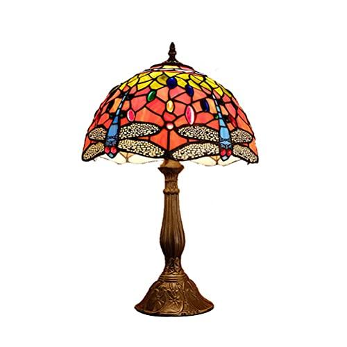 DIMPLEYA Tiffany Lámpara de Mesa Azul Lámparas de Mesa de la Vendimia, lámpara de Noche de 12 Pulgadas Hecha a Mano, lámparas de mesas, lámparas Antiguas Originales