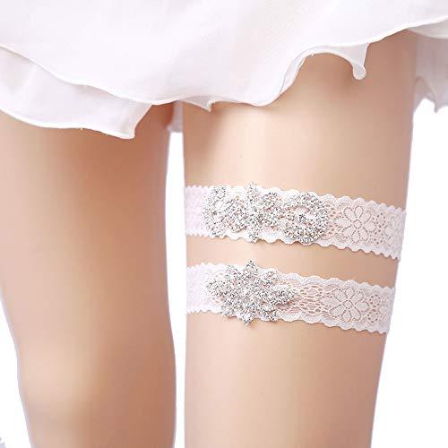 OURIZE Wedding Garter Belt Lace Garter Set Garter for Bride with Rhinestones (C)