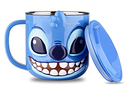 Disney 3D Stitch Blue Durable Edelstahl-Isolierbecher mit Deckel, 250 ml