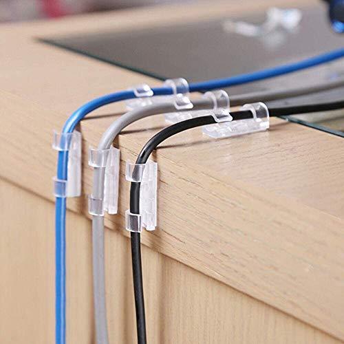 QUANHAO Selbstklebend Kabelschellen/Kabel-clips, Kabelhalter für Haus, Büro, Auto, PC. Anbringen an Wand oder Schreibtisch für Kabelmanagement (100 Packungen)