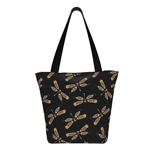 Teery-YY Colorido lindo libélula lona bolsa grande mujer bolso de hombro casual bolso bolso de mano, mercado playa viaje reutilizable multiusos resistente compras compras