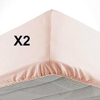CDaffaires Lot de 2 Draps Housse Bonnet 30 cm 2 Personnes 140 x 190 cm Microfibre Oscar Nude