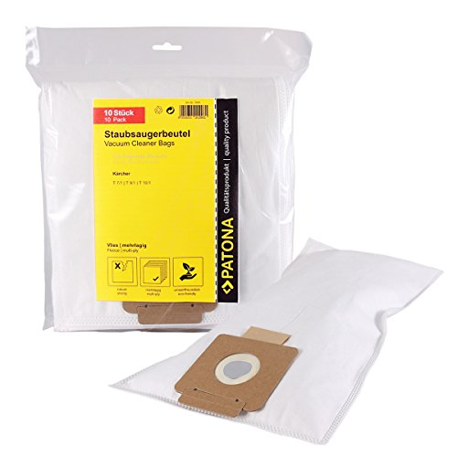 PATONA 10x Staubsaugerbeutel kompatibel mit Kärcher T 12/1, T15/1, T17/1, TSS 12, 6.904-315.0, 6.907-017.0, reißfeste Filtertüte 5-lagig aus synthetischem Vlies