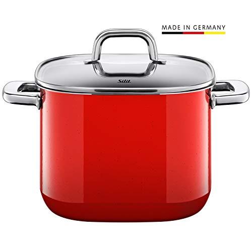Silit Quadro Red Kochtopf quadratisch hoch 22cm, Glasdeckel, Fleischtopf 6,8l, Silargan Funktionskeramik, stapelbar, Topf Induktion, rot
