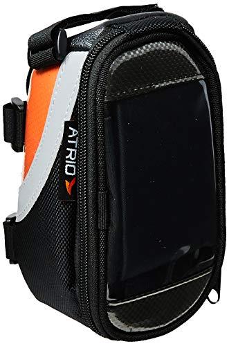 Bolsa com Porta Celular para Bicicleta Capacidade de 0,6L Impermeável com Touch Material em Poliéster e PVC Preto/Laranja Atrio - BI022