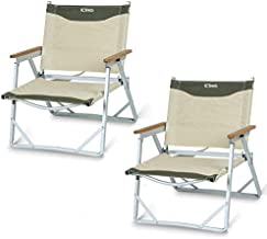iClimb Ultralight Low Beach Concert Camping Folding Chair with Handle and Shoulder Strap (Beige - 2PC)