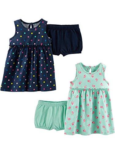 Simple Joys by Carter's Conjunto de 2 vestidos de manga corta y sin mangas para bebés y niñas ,Navy Dot/Mint Bird ,24 Months