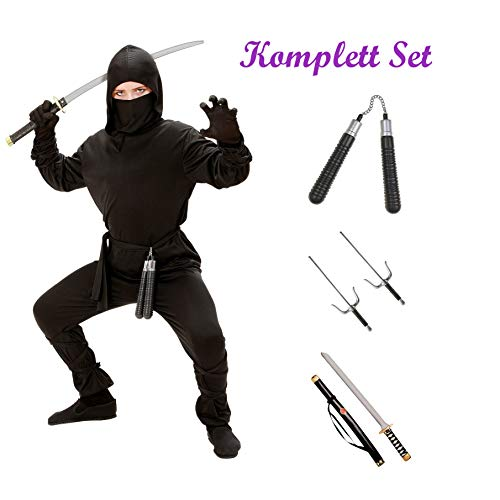 Kinder Karneval Ninja Kostüm Komplett Set / Coat mit Kapuze, Hose, Gürtel, Maske,Arm- und Beinbänder, Katana, Sai Gabeln, Nunchaku (152/158)