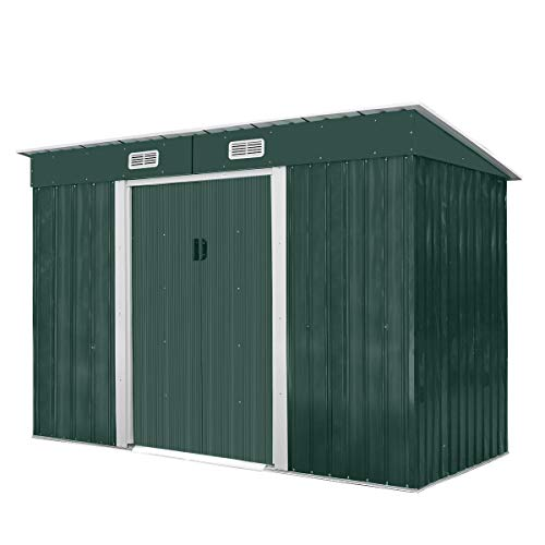 JAXPETY 4.2' x 9.1' Outdoor Storage Shed Garden Utility Tool Storage House Backyard Lawn with Sliding Door, Green
