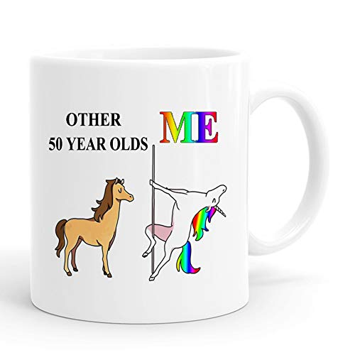 50th Birthday Gifts for Women and Men – Funny 11 oz 50 Year Old Mug – 1969 50 Year Old Birthday Gifts Coffee Unicorn Mugs, Christmas Gifts for Her, Him, Friend, Mom, Dad, Sister, Daughter, Coworker