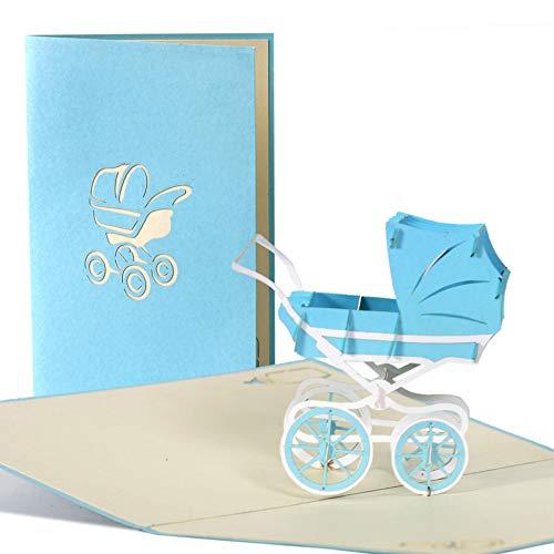 Poussette Garçon, bébé douche Carte, nouveau bébé, carte Félicitations Carte, carte d