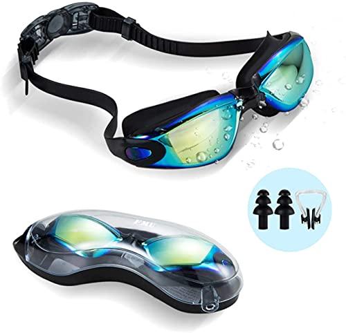 ehomiiii - Occhiali da nuoto senza fatica, protezione UV, antiappannamento, morbidi, in silicone, per uomini, donne, bambini
