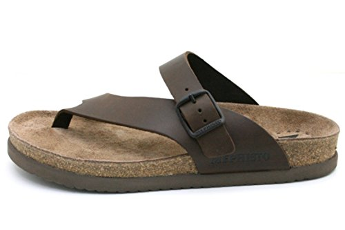 Mephisto Tongs Niels Sandales pour Hommes Scratch 3451 Dark Brown Taille : 47 EU