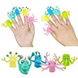 TIBDALA Monster Finger Puppets, Fun Little Finger Monsters Soft Rubber Animal Hand Puppets Role Playing Educational Toys Great for Kids Party Favors, Goodie Bag Fillers (5PC)