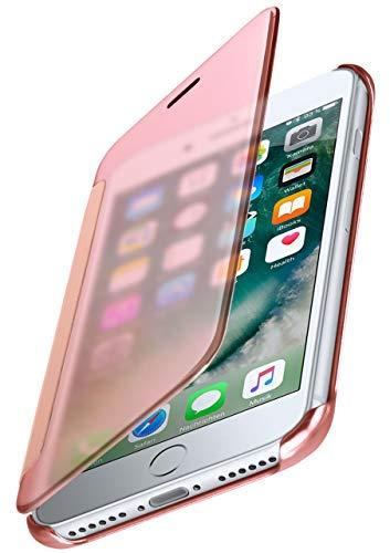 moex Dünne 360° Handyhülle passend für iPhone 7 / iPhone 8 | Transparent bei eingeschaltetem Bildschirm - in Hochglanz Klavierlack Optik, Rose-Gold