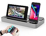 Dual Station de Chargement et Haut-Parleur, Support de Chargeur et Speaker d'accueil Audio avec Micro et USB C Adaptateur...