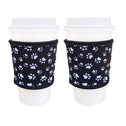 Neopren-Hüllen für heiße Kaffeetassen, 4 mm dick, isoliert, wiederverwendbar, für heißen Kaffee und Tee von Starbucks Coffee, McDonalds, Dunkin Donuts, mehr (Pfotenabdruck)