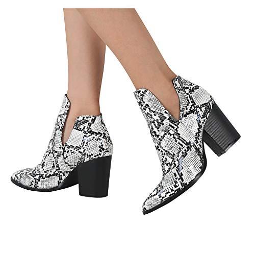 DNOQN Damen Stiefeletten Chelsea Winter Kurzschaft Stiefel Spitzen Hochhackigen Mode Schlangenmuster Schuhe Stiefel Größe Booties