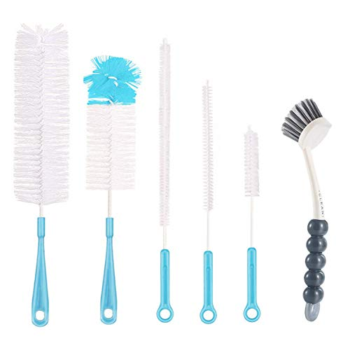 6Pcs Bottle Cleaning Brush Set-Long Handle Water Bottle Cleaner Brush for Washing Wine Decanter,Beer bottle,Baby Bottles,Include Sports Water Bottles|Straw Brush|Kettle Spout|Lid Brush|Thermos(Blue)