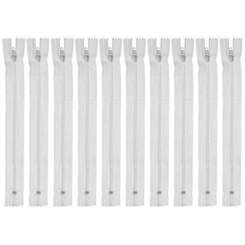 Faden & Nadel 10 Nylon - Reißverschlüsse in Weiß, Nicht teilbar, jeweils 40 cm lang