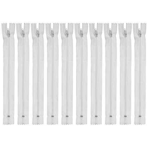 Faden & Nadel 10 x Nylon Reißverschluss kurz (22 cm), Farbe: weiß, Nicht teilbar