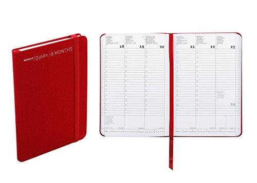 Agenda settimanale 18 mesi, formato small, cm 11 X 16,5 colore rosso
