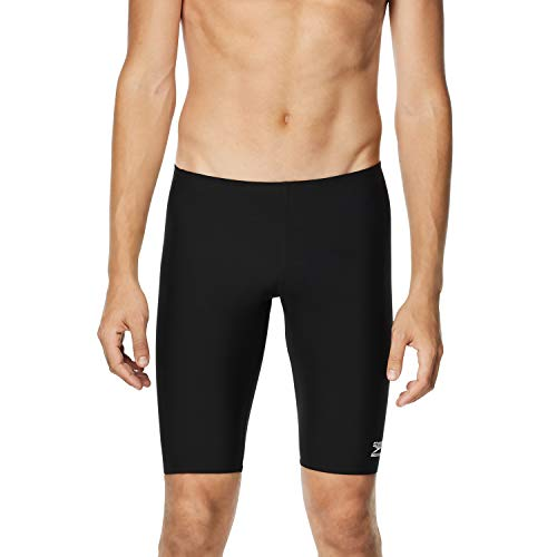 Speedo Men's Swimsuit Jammer Endurance+ Solid USA Adult,Speedo Black,34