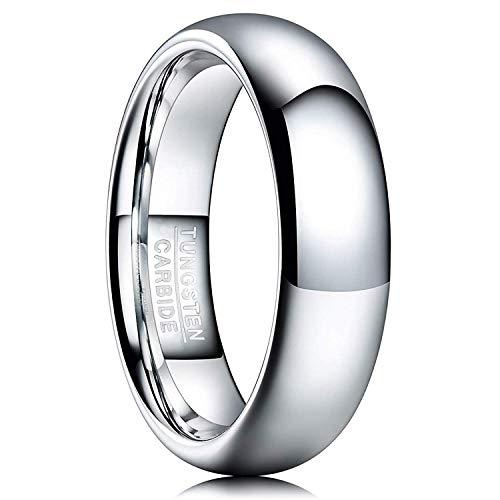 NUNCAD Damen Herren Partner Ring aus Wolfram 6mm Silber Poliert für Partnerschaft Freundschaft Lifestyle Hobby Größe 57 (17)
