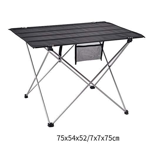 Ultraleichter Klappbarer Campingtisch Für Den Außenbereich, Tragbarer Aluminiumtisch, Kompakter Picknicktisch Zum Klappen Und Rollen, Geeignet Für Camping Im Freien(Größe: 75 * 54 * 52 Cm),Silver