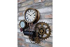 Casadomu Steampunk Clock Industrial Pipe Wall Hanging Large Rustic Cogs Decor Timepiece #5