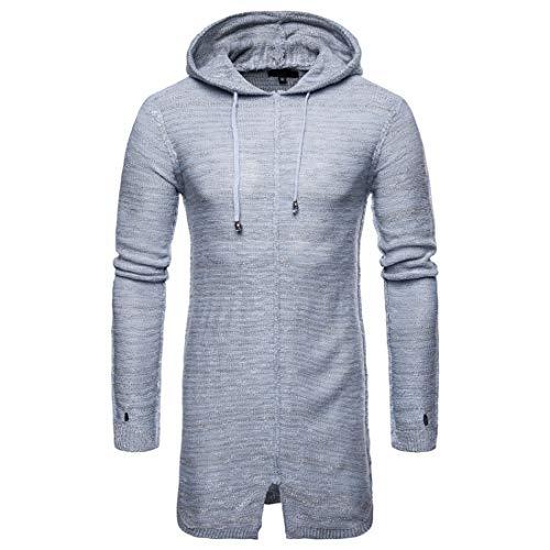 Kapuzenjacke Herren Winter Einfarbig Tops Slim Fit Kapuzenpullover Kordelzug Langer Feinstrick Pulli Sweatshirt Mode Warm All-Match Bequemer Breathable Sweater M