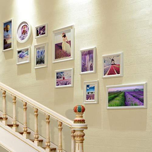 LJXWH 11 Combinaison Cadre Photo Mur Galerie Kit Mur Horloge Montre Affiche Cadre Noël Décoration Murale Cadre Murale (Couleur : Blanc, Taille : 168 * 95cm)