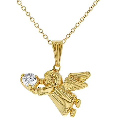 In Season Jewelry 18k Gold Plated Guardian Angel Pendant Necklace Kids Girls Children CZ 16'