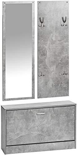 ts-ideen 3er Set Wand-Garderobe Wand-Spiegel Schuhkipper Schuhschrank Sitzbank Betonoptik Grau