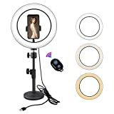 Yefound Portable Led Ring Light with Stand & Cell Phone Holder and Remote Control for Live Streaming in YouTube, Facebook,can Selfie, Take Video,Makeup