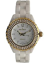 Ceramic Wrist Watch with Crystal Gold Bezel and White Link Bracelet