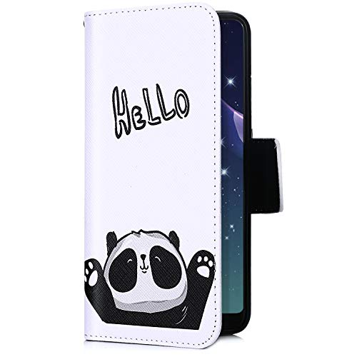 Uposao Kompatibel mit Handyhülle iPhone XS Max Handytasche Retro Muster Leder Flip Case Cover Tasche Ledertasche Lederhülle Bookstyle Klapphülle mit Kartenfach Magnetverschluss,Schwarz Panda
