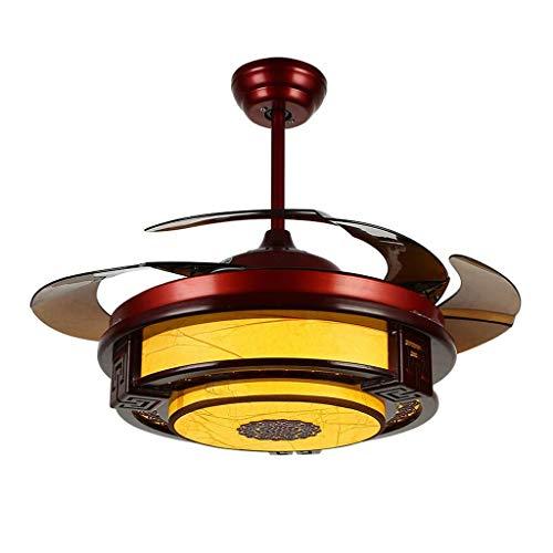 HEZHANG Silencioso Techo Ventilador Luz Retro Ventilador Lámpara Luz Led 108 cm Control Remoto Madera Ventilador Tradicional Techo Luz Luz Dimmer Energía Ahorro de Energía,Amarillo,42 Pulgadas