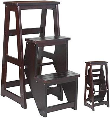 YZjk Taburete Plegable, fácil y multifunción, Plegable, Escalera de Madera de 3 escalones, taburetes para Cocina, Escalera doméstica Multifuncional, Carga 120 kg, Nogal Amarillo: Amazon.es: Hogar